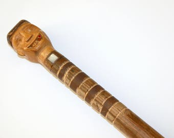 Vintage Walking Stick Cane, Carved Prison Folk Art from 30s or 40s, Man Face Stripes with Inlay MOP, Ruby