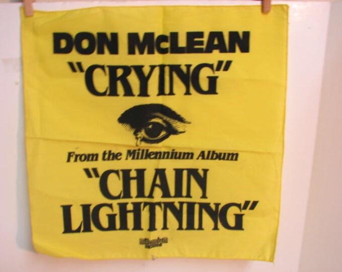 Vintage Don Mclean Crying Promotional Hankie Cloth, LP Promo, Millennium Records Chain Lightning Album 1978