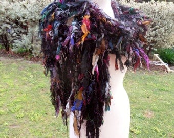 black  wrap scarf, recycled silk scarf, hand knitted scarf, boho tattered rag scarf