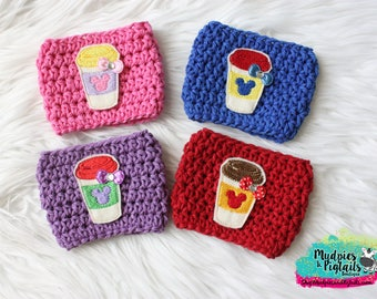 Frappuccino Coffee Cozy { Princess to go Cups } mermaid, sleeping beauty, snow white, cup sleeve tea, latte, planner