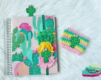 Cactus Planner band, cup cozy, paper clip {Polkadot } Succulents, pink yellow green, summer, spring bookmark bible band