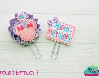 Planner Clip Set { Mouse Birthday } minnie, Paper Clips, Stationary, spring, lavender and pink Birthday party favors, kikkik, happy planner