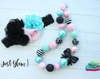 Toddler necklace or baby headband { Just Glam } black, aqua Pink, first birthday cake smash photography prop