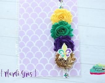 Planner band { Mardi Gras } fleur de lis, new orleans shabby flower, purple, gold green, parade summer, bookmark bible band, baby headband