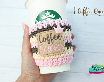 Crochet Mug Cup Cozy { Coffee Queen } coffee lover, pink, brown adulting mom life, mug sweater, starbucks, water bottle, crochet