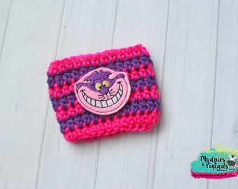 Silly Cat Crochet Coffee Sleeve { Cheshire }  mad hatter, pink, cup cozy, knit mug sweater, starbucks gift, mud holder