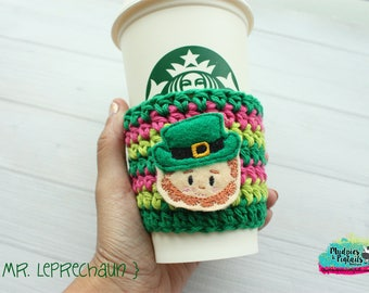 St Patricks Day Coffee Cup Cozy { Mr Leprechaun } green, pink, pot of gold, Irish, crochet mug sweater starbucks, water bottle, crochet