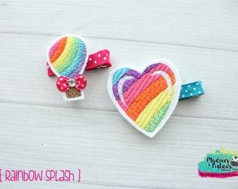 Planner Clip or Hair Clippie { Rainbow Splash } hot air balloon, heart Paper Clips, Stationary, irish toddler hair bow Birthday