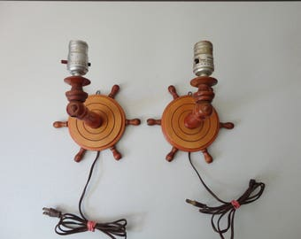 VINTAGE pair of wooden ship wheel LAMPS - nautical decor - wall sconce style
