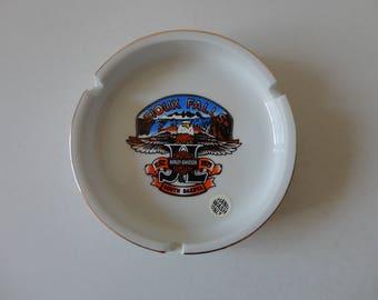 VINTAGE white porcelain ceramic HARLEY davidson ASHTRAY - sioux falls south dakota