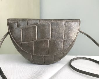Vintage Leather Patterson Croc Embossed Crossbody Purse / Mini Boho 1980s Bag