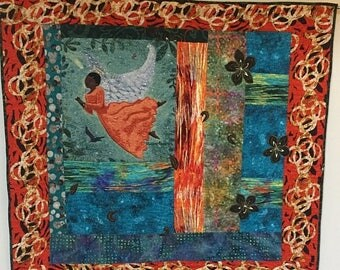 Festival Sale I Believe in Beautiful Angels hand quilted art quilt