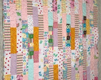 "Baby Girl Quilt, Pink prints Quilt, strip quilt, 39""x 40"""