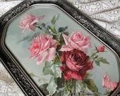 Roses, Catherine Klein, Print, Vintage, Fancy, Antique, Barbola, Frame, C Klein, Shabby Chic, Gray