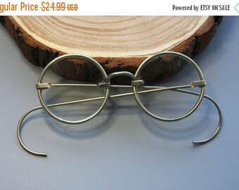Reserved for Andrea- ON SALE Vintage EYE Glasses Spectacles- Vintage Eye wear- Round Metal Frames- Hinged Arms Steampunk Style