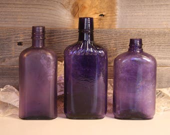 Vintage PURPLE BOTTLE Lot - Amethyst Antique Bottles- Decorative Unusual Shapes- Farmhouse Rustic Flower Vases D81