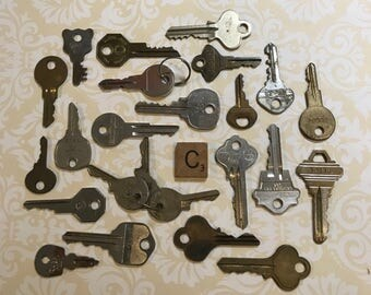 KEY Lot (24) Car Keys-House Keys-Mixed Media Altered Art Supply- Old Key Lot Found Object- Recycle- Upcycle- Repurpose