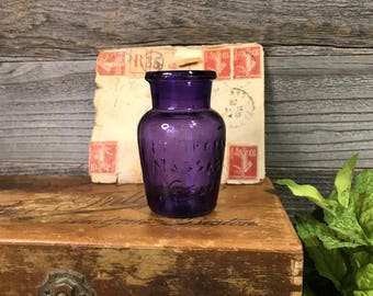 Vintage Pompeian Message Cream Jar Antique Purple Bottle- Collectible- Early 1900's- R63