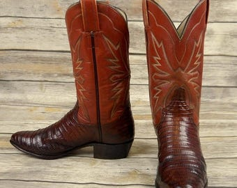 Women Cowboy Boots Brown Faux Lizard Size 6.5 B Cowgirl Western Boho Shoes