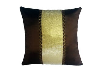 Brown throw pillow. Gold and brown decorative  throw pillow cover.  Dupioni silk luxury cushion cover festive pillow. Custom made.