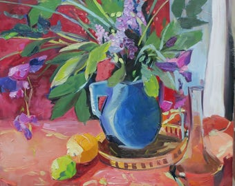 impressionist still life - citrus fruit - floral impressionism - colorful painting - blue - pink - after Matisse - exotic oil painting - art