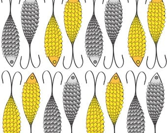 Fishing Lure Fabric - Fishing Lures Bait By Colour Angel By Kv - Fishing Lure Lake Gray Yellow Cotton Fabric By The Yard With Spoonflower