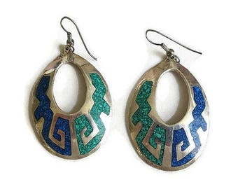 Inlaid Turquoise & Lapis Chips Dangle Earrings Vintage Mid-Century Alpaca Silver