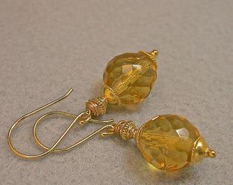 Vintage Lemon Yellow Multi Faceted Crystal Bead Earrings , Handmade Bali 24k Gold Vermeil Beads, Handmade Bali 24k Gold Vermeil Ear Wires