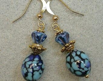 Vintage Japanese Millefiori Glass Bead Blue Black Dangle Drop Earrings ,Vintage German Blue Pressed Glass Flower Bead, Gold Ear Wires