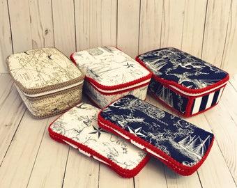 Nautical wipe case set of 2 diaper wipe case nautical navy wipes case vintage nautical theme nursery decor vintage baby decor vintage navy
