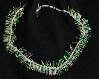 green and puple bugle cascade necklace