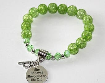 25% OFF - She believed she could so she did / Green Crackle Glass 10mm beads / personalized initial / Gemstone Bracelet / inspirational
