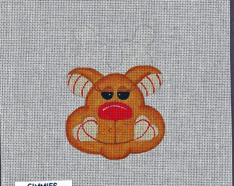 Gimmies Hand Painted Needle Point Canvass Funny Reindeer 9x7 inches