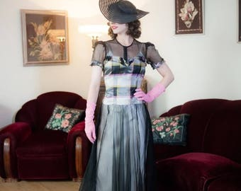50% CLEARANCE Vintage 1930s Dress - Glorious Sheer Black Net with Plaid Taffeta 30s Garden Party Gown