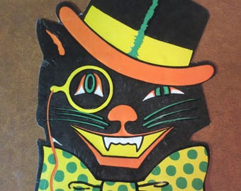 Cardboard Halloween cat / Vintage Halloween Cutout decor / Biestle Cat / Cardboard Cat with hat and bowtie