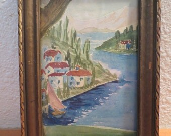 "Vtg Original Watercolor Painting / framed Watercolor Painting / 7 x 5"" / Unsigned original painting"