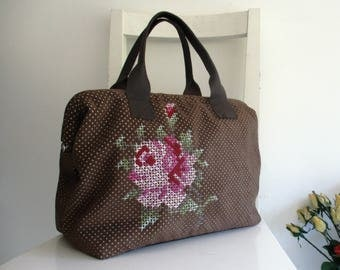 Cross Stitched Fabric and Leather Doctor Bag / Tote