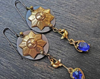 "Recycled antique artisan earrings by fancifuldevices- ""Sun, Sky, Fire"""