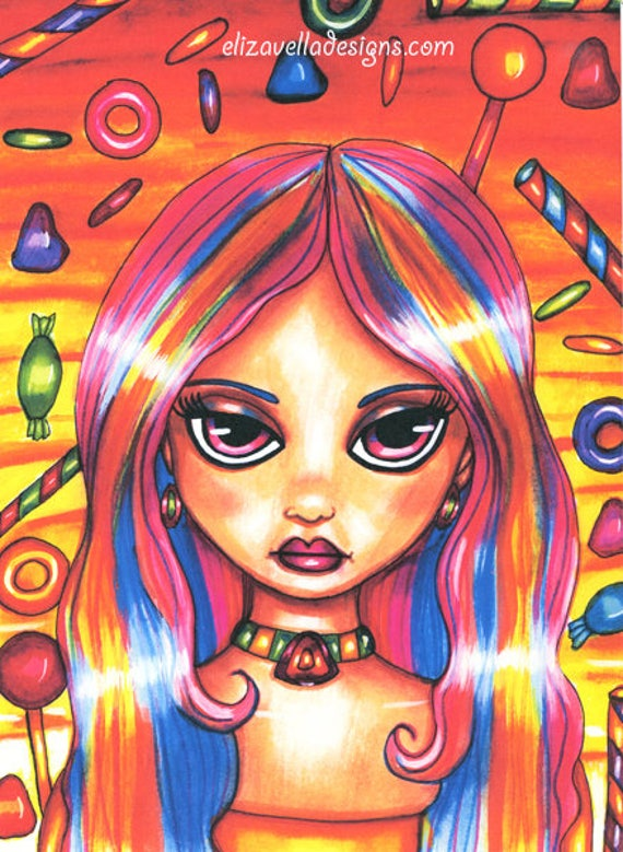 Candy Land Fairy original art print fantasy fairytales big eye girl drawing artwork Elizavella Bowers