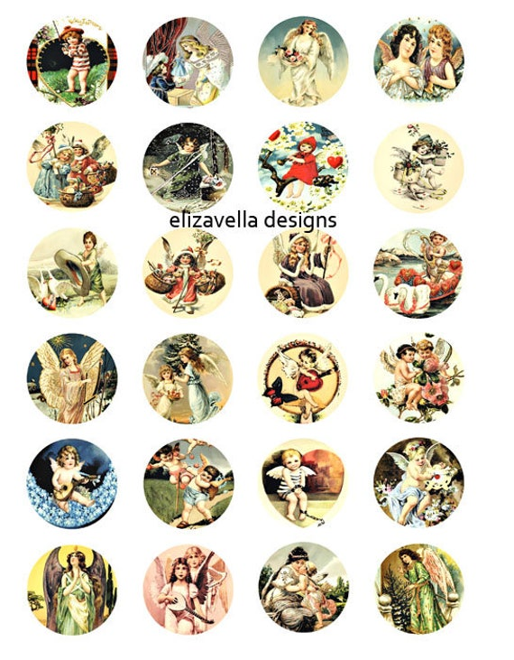 vintage 1800s 1900s Angels Cherubs digital download collage sheet 1.5 inch circles christmas Valentines clip art graphics images
