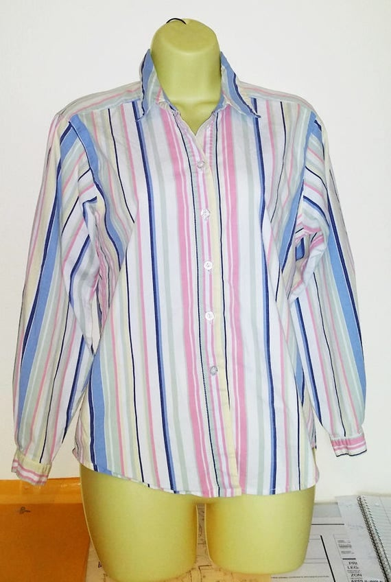 pink and blue stripe shirt button down collar top stripes blouse size medium womens summer clothing
