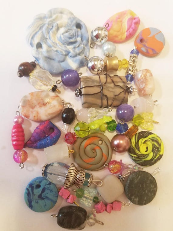 35 clay stone pendants bead drops charms mixed lot glass plastic beads jewelry craft supplies findings