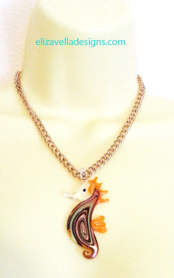 GLASS seahorse neckace sealife necklace orange glass pendant on gold chain necklace