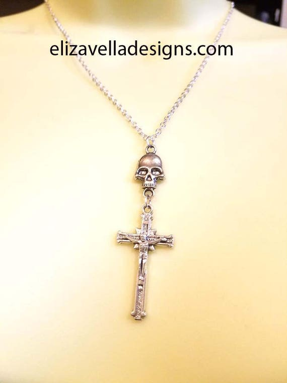 silver skull cross crucifix necklace unisex mens womens goth biker punk jewelry