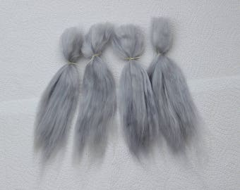 "Suri Alpaca Doll Hair dyed and combed locks, silver grey, Batik, 7- 9"" for reroot and BJD doll wigmaking, 14 g"