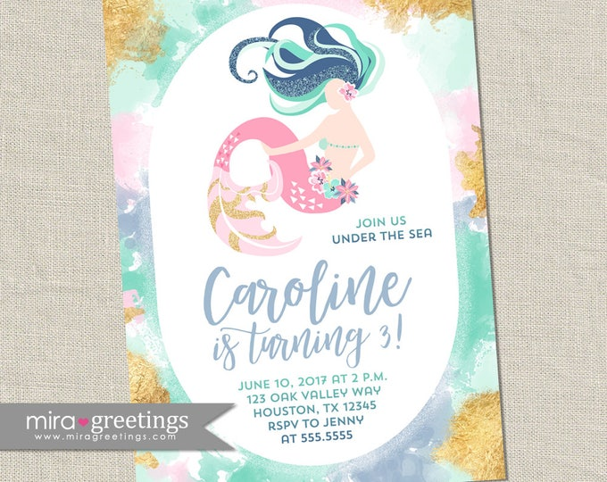 Mermaid Birthday Party Invitation - Printable Digital File