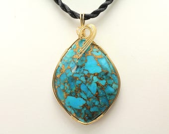 Mohave Turquoise Pendant. Listing 546970815