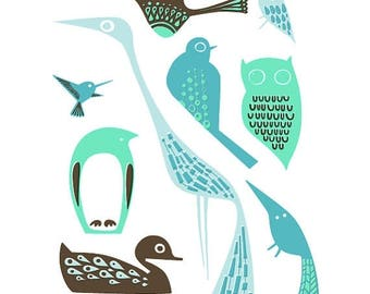 """SUMMER SALE 8X10"""" modern birds giclee print on fine art paper. teal, turquoise, mint, blue and brown"""