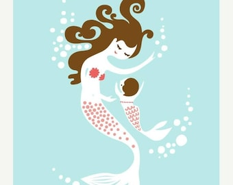 "SUMMER SALE 8X10"" mermaid mother and baby girl giclee print on fine art paper. sky blue, coral pink,  brunette."