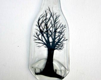 Spoon Rest, Kitchen Trivet,  Melted Clear Beer Bottle,  Hand Painted Black Tree,  Candle Holder, Winter Tree